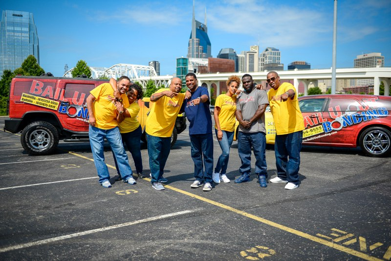 team-outside-nashville-skyline-having-fun
